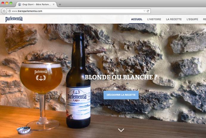 Capture écran du site internet de Bière Parkementia au Pays Basque