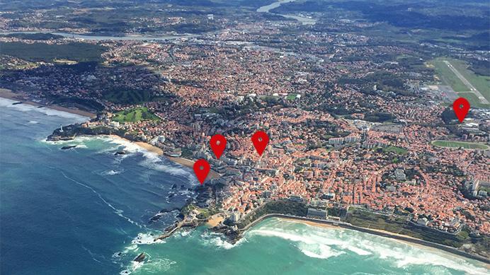 vue aérienne de biarritz - se positionner sur le référencement local