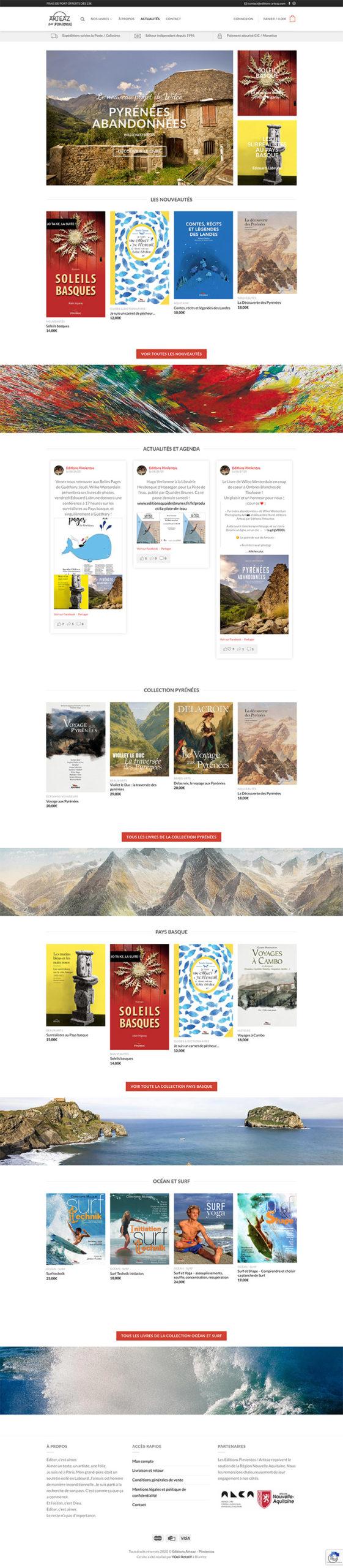 capture page d'accueil boutique en ligne Arteaz-Pimientos